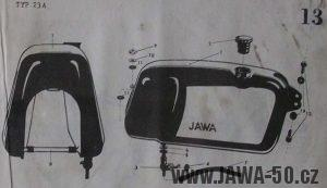 Nádrž prvního provedení Jawy 23 Mustang z roku 1968