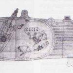 Výkres motoru Jawa 50 od Jana Křivky s poloautomatickým vypínáním spojky