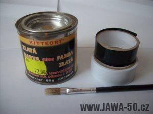 Zlatá barva, štětec a elektrikářské pásky pro linkování
