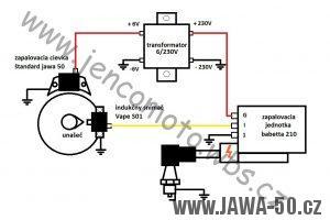 Schéma zapojení elektroinstalace s bezkontaktem Babetta