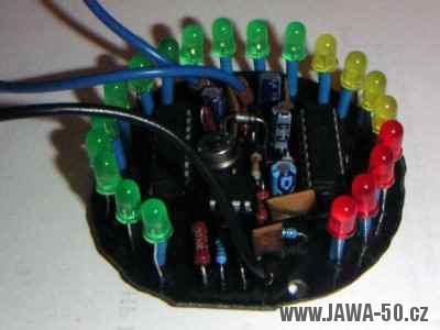 Hotový LED otáčkoměr pro malý motocykl Jawa 50 Pionýr