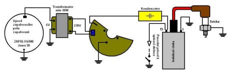 Univerzální schéma elektroinstalace s bezkontaktním Light CDI zapalováním