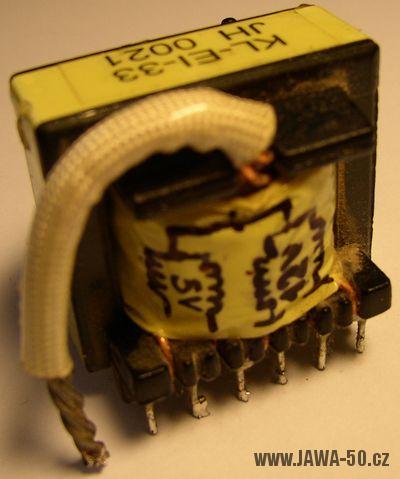 Tyristorové DC CDI zapalování verze 5.1 - transformátor z PC zdroje
