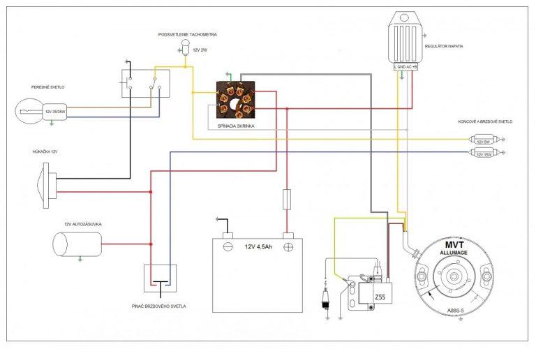 Jawa 50 schéma zapojení elektroinstalace s Vape (12V/60W) s dobíjením, brzdovým světlem a spínačkou na klíč