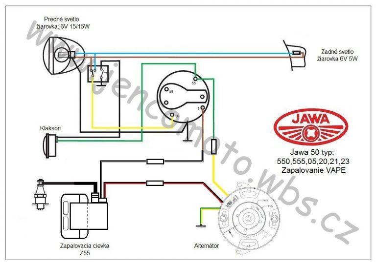 Jawa 50 schéma zapojení elektroinstalace s Vape SZ86 (6V/20W)