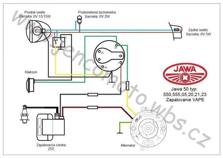 Jawa 50 schéma zapojení elektroinstalace s Vape SZ86 (6V/20W) a podsvícením tachometru