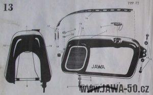 Nádrž exportního provedení Jawy 23 Mustang pro síť Neckermann