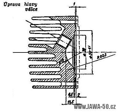 Výkres úpravy hlavy válce Jawa 05 (tuning)