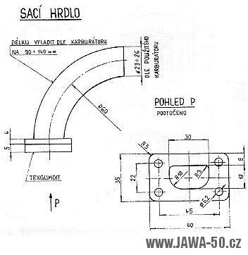 Sací hrdlo karburátoru pro upravený motor Jawa 20