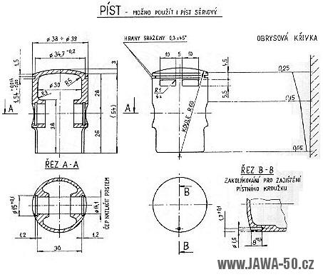 Výkres úpravy pístu Jawa 20