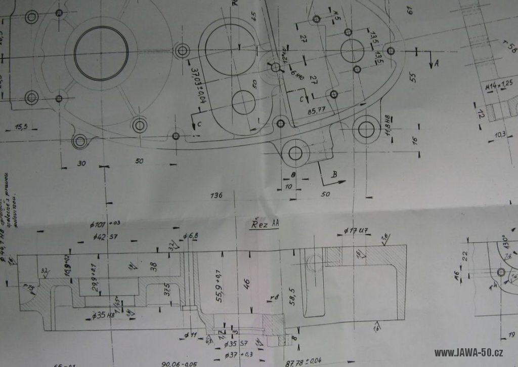 Výkres opracování nového odlitku bloku motoru Jawa 50 pro čtyřstupňovou převodovku