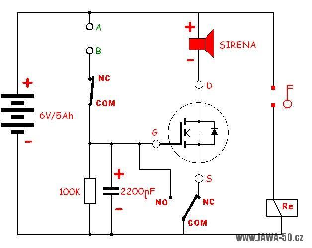 Schéma zapojení alarmu na motocyklu Jawa 50 Pionýr