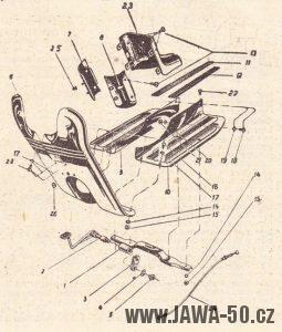 Schéma návodu na dodatečnou montáž ochranných revmaplechů- Jawa 555